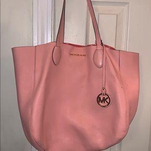 Light/dark pink leather Michael Kors large handbag